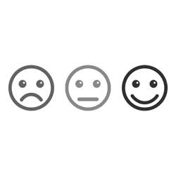 Unhappy Nuetral and happy faces icon